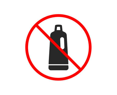 No or Stop. Cleaning shampoo icon. Washing liquid or Cleanser symbol. Housekeeping equipment sign. Prohibited ban stop symbol. No shampoo icon. Vector