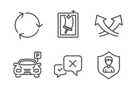 Reject, Window cleaning and Recycling icons simple set. Intersection arrows, Parking and Security agency signs. Delete message, Housekeeping service. Line reject icon. Editable stroke. Vector Illustration