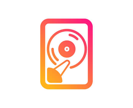 Hdd icon. Computer memory component sign. Data storage symbol. Classic flat style. Gradient hdd icon. Vector