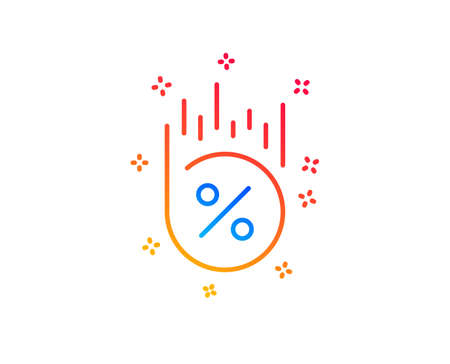 Loan percent line icon. Discount sign. Credit percentage symbol. Gradient design elements. Linear loan percent icon. Random shapes. Vector