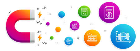 Magnet attracting. Music making, Conversation messages and Technical info icons simple set. Graph chart, Vocabulary and Diagram chart signs. Dj app, Communication. Education set. Vector