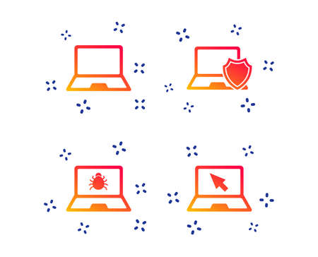 Notebook laptop pc icons. Virus or software bug signs. Shield protection symbol. Mouse cursor pointer. Random dynamic shapes. Gradient computer icon. Vector