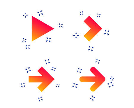 Arrow icons. Next navigation arrowhead signs. Direction symbols. Random dynamic shapes. Gradient arrow icon. Vector Vecteurs