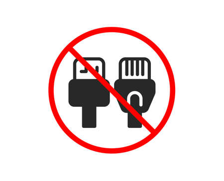 No or Stop. Computer cables icon. Usb, rj45 connection wires. Prohibited ban stop symbol. No computer cables icon. Vector