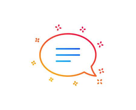 Chat line icon. Speech bubble sign. Communication or Comment symbol. Gradient design elements. Linear chat icon. Random shapes. Vector
