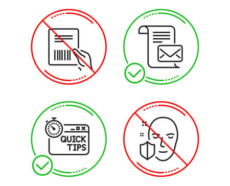 Do or Stop. Parcel invoice, Mail letter and Quick tips icons simple set. Face protection sign. Delivery document, Read e-mail, Helpful tricks. Secure access. Business set. Line parcel invoice do icon Banque d'images - 121270594