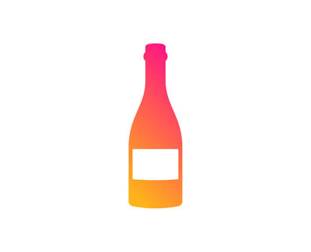 Champagne bottle icon. Anniversary alcohol sign. Celebration event drink. Classic flat style. Gradient champagne bottle icon. Vector Illustration