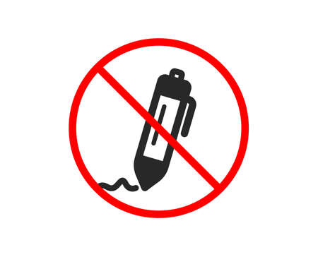 No or Stop. Signature icon. Written pen sign. Education symbol. Prohibited ban stop symbol. No signature icon. Vector