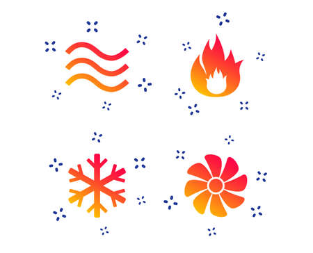 HVAC icons. Heating, ventilating and air conditioning symbols. Water supply. Climate control technology signs. Random dynamic shapes. Gradient heating icon. Vector Standard-Bild - 121270636