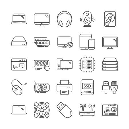 Laptop, SSD, Computer components line icons. Motherboard, CPU, Internet cables icons. Wifi router, computer monitor, Graphic card. Keyboard, SSD device. Internet cables, laptop components. Vector