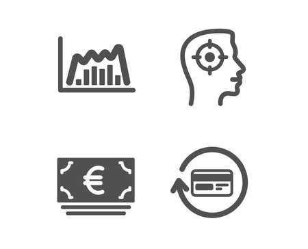 Set of Euro currency, Recruitment and Infographic graph icons. Refund commission sign. Eur banking, Headhunter aim, Line diagram. Cashback card.  Classic design euro currency icon. Flat design. Vector Illusztráció