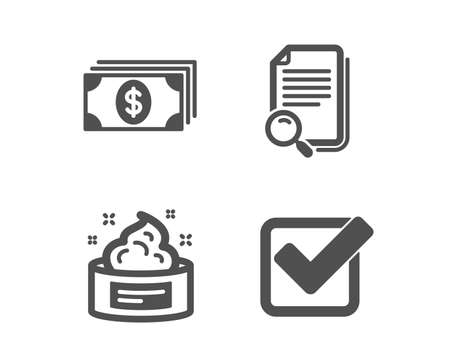 Set of Skin cream, Banking and Search file icons. Checkbox sign. Medical cosmetic, Money payment, Find document. Approved tick.  Classic design skin cream icon. Flat design. Vector