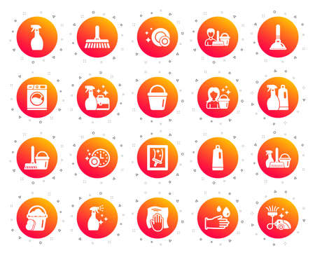 Cleaning icons. Laundry, Sponge and Vacuum cleaner signs. Washing machine, Housekeeping service and Maid equipment symbols. Window cleaning and Wipe off. Gradient buttons set. Classic icons. Vector Reklamní fotografie - 121270702