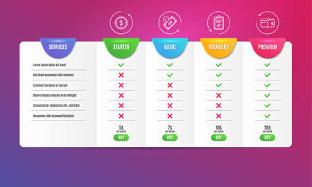 Checklist, Accepted payment and Dollar target icons simple set. Comparison table. Payment methods sign. Survey, Bank transfer, Aim with usd. Wallet cash. Finance set. Pricing plan. Vector