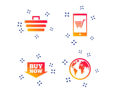 Online shopping icons. Smartphone, shopping cart, buy now arrow and internet signs. WWW globe symbol. Random dynamic shapes. Gradient shopping icon. Vector