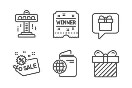 Wish list, Attraction and Winner ticket icons simple set. Travel passport, Sale and Surprise signs. Present box, Free fall. Holidays set. Line wish list icon. Editable stroke. Vector
