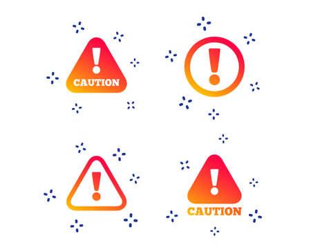 Atención iconos de precaución. Símbolos de advertencia de peligro. Signo de exclamación. Formas dinámicas aleatorias. Icono de precaución degradado. Vector Ilustración de vector