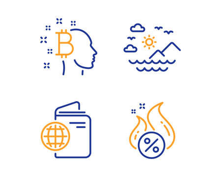 Travel passport, Bitcoin think and Sea mountains icons simple set. Hot loan sign. Trip document, Cryptocurrency head, Summer travel. Discount offer. Business set. Linear travel passport icon. Vector Çizim