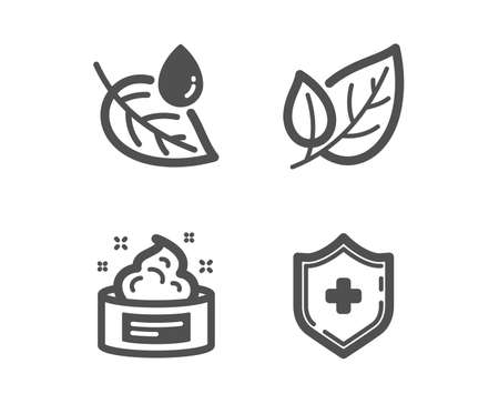 Set of Leaf dew, Skin cream and Leaf icons. Medical shield sign. Water drop, Medical cosmetic, Ecology. Medicine protection.  Classic design leaf dew icon. Flat design. Vector