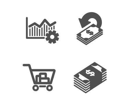 Set of Operational excellence, Cashback and Internet shopping icons. Usd currency sign. Corporate business, Financial transfer, Cart with purchases. Buying commerce. Vector Ilustração