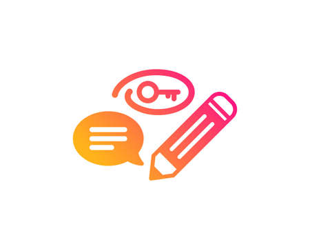 Keywords icon. Pencil with key symbol. Marketing strategy sign. Classic flat style. Gradient keywords icon. Vector