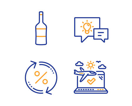 Idea lamp, Loan percent and Wine icons simple set. Airplane travel sign. Business energy, Change rate, Merlot bottle. Check in. Linear idea lamp icon. Colorful design set. Vector  イラスト・ベクター素材