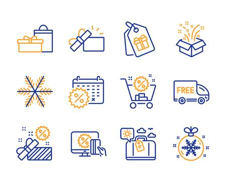 Snowflake, Gifts and Shopping cart icons simple set. Opened gift, Travel luggage and Sale signs. Free delivery, Gift and Coupons symbols. Line snowflake icon. Colorful set. Editable stroke. Vector