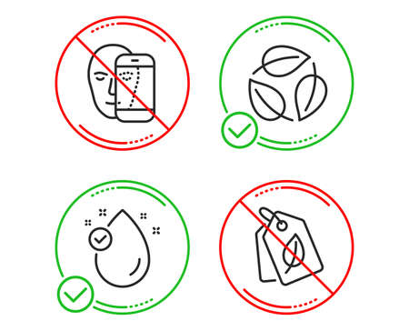 Do or Stop. Vitamin e, Leaves and Face biometrics icons simple set. Bio tags sign. Oil drop, Nature leaf, Facial recognition. Leaf. Healthcare set. Line vitamin e do icon. Prohibited ban stop. Vector