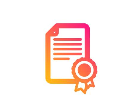 Certificate Medal icon. Diploma achievement symbol. Document with approved badge sign. Classic flat style. Gradient certificate icon. Vector Stock Vector - 123159695