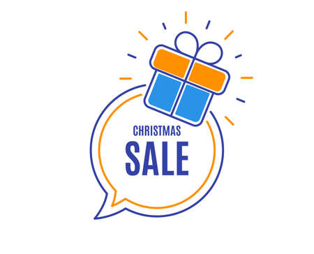 Christmas Sale. Special offer price sign. Advertising Discounts symbol. Loyalty sale tag. Speech bubble banner. Gift box badge. Vector Illustration