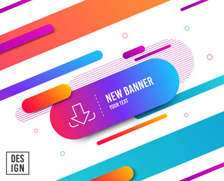 Download Arrow line icon. Down arrowhead symbol. Direction or pointer sign. Diagonal abstract banner. Linear download icon. Geometric line shapes. Vector