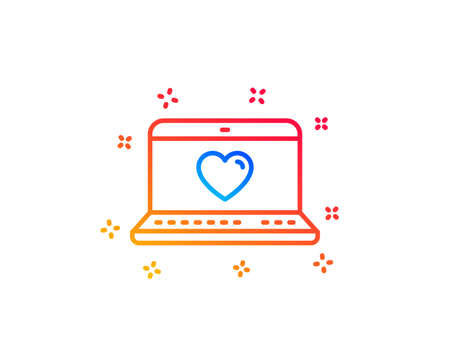 Love dating line icon. Heart in Notebook sign. Valentines day symbol. Gradient design elements. Linear web love icon. Random shapes. Vector