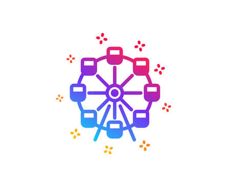 Ferris wheel icon. Amusement park sign. Carousels symbol. Dynamic shapes. Gradient design ferris wheel icon. Classic style. Vector
