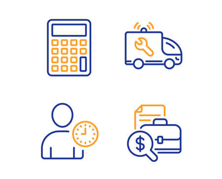 Car service, Calculator and Time management icons simple set. Accounting report sign. Repair service, Accounting device, User with clock. Financial case. Business set. Linear car service icon. Vector