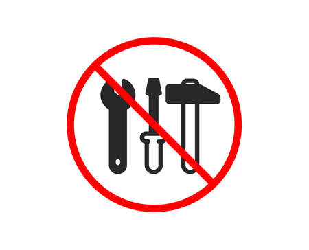 No or Stop. Spanner, hammer and screwdriver icon. Repair service sign. Fix instruments symbol. Prohibited ban stop symbol. No spanner tool icon. Vector 일러스트