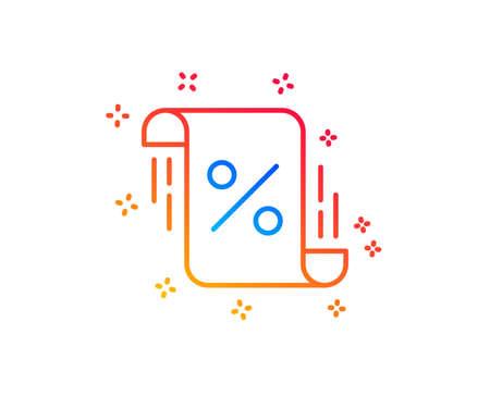 Loan percent line icon. Discount blueprint sign. Credit percentage symbol. Gradient design elements. Linear loan percent icon. Random shapes. Vector