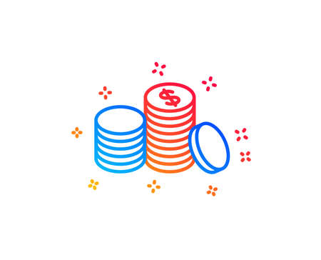 Coins money line icon. Banking currency sign. Cash symbol. Gradient design elements. Linear banking money icon. Random shapes. Vector Ilustração