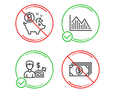Do or Stop. Investment graph, Business growth and Bitcoin coin icons simple set. Banking sign. Investment infochart, Earnings results, Piggy bank. Money payment. Finance set. Vector Ilustracja