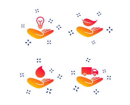 Helping hands icons. Intellectual property insurance symbol. Delivery truck sign. Save nature leaf and water drop. Random dynamic shapes. Gradient insurance icon. Vector