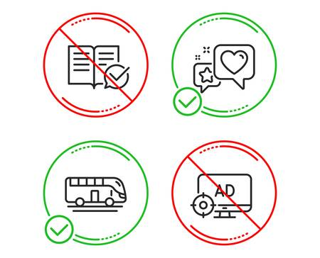 Do or Stop. Bus tour, Approved documentation and Heart icons simple set. Seo adblock sign. Transport, Instruction book, Star rating. Search engine. Line bus tour do icon. Prohibited ban stop. Vector