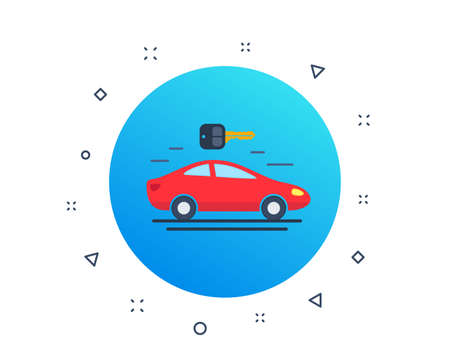 Car rental, carsharing icon. Automobile repair service sign. Spare parts store. Rent a car. Public transportation key. Random dynamic shapes. Gradient carsharing button. Vector Illustration