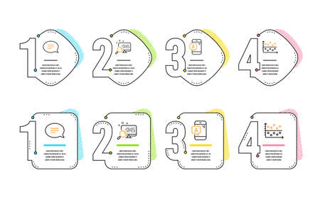 Ab testing, Chat and Search icons simple set. Dot plot sign. Phone test, Speech bubble, Find file. Presentation graph. Infographic timeline. Line ab testing icon. 4 options or steps. Vector Illustration