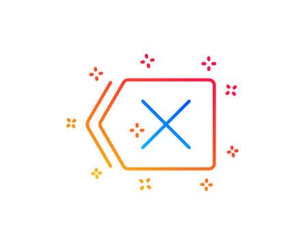 Delete line icon. Remove sign. Cancel or Close symbol. Gradient design elements. Linear remove icon. Random shapes. Vector