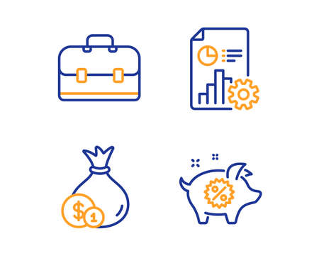 Portfolio, Report and Cash icons simple set. Piggy sale sign. Business case, Presentation document, Banking currency. Discounts. Finance set. Linear portfolio icon. Colorful design set. Vector Иллюстрация