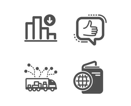Set of Like, Truck delivery and Decreasing graph icons. Travel passport sign. Thumbs up, Logistics, Crisis chart. Trip document.  Classic design like icon. Flat design. Vector