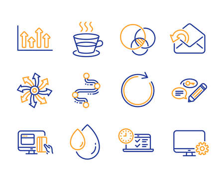 Send mail, Online payment and Versatile icons simple set. Keywords, Upper arrows and Timeline signs. Euler diagram, Coffee cup and Synchronize symbols. Line send mail icon. Colorful set. Vector Ilustração