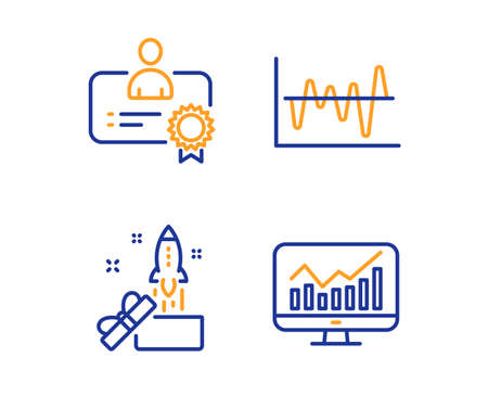 Innovation, Stock analysis and Certificate icons simple set. Statistics sign. Crowdfunding, Business trade, Best employee. Financial report. Business set. Linear innovation icon. Colorful design set