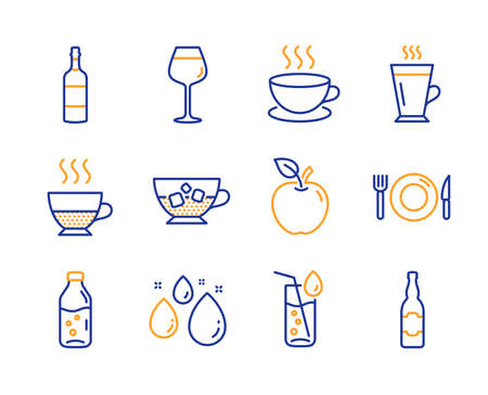 Brandy bottle, Bordeaux glass and Cold coffee icons simple set. Cappuccino, Food and Water drop signs. Latte, Apple and Water glass symbols. Doppio, Beer bottle. Line brandy bottle icon. Colorful set Illustration