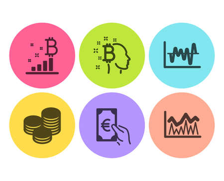 Stock analysis, Finance and Tips icons simple set. Bitcoin think, Bitcoin graph and Investment signs. Business trade, Eur cash. Finance set. Flat stock analysis icon. Circle button. Vector