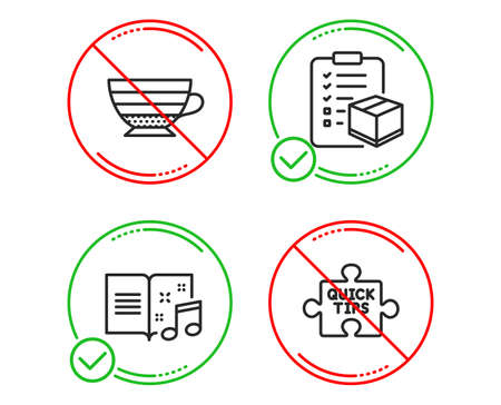 Do or Stop. Parcel checklist, Cappuccino and Music book icons simple set. Quick tips sign. Logistics check, Coffee cup, Musical note. Tutorials. Line parcel checklist do icon. Prohibited ban stop
